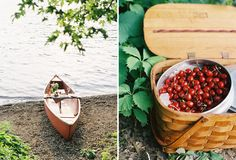 Picnic Engagement Photos on a Canoe