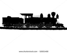 old trains clipart | Vintage Steam Train Silhouetted On White Stock Photo 52651468 ...