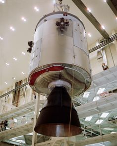 --- Transfer of Apollo Spacecraft 012 Command/Service Module (CSM) for mating with the Saturn Lunar Module (LM) Adapter in the Manned Spacecraft Operations Building. Spacecraft 012 will be flown on the Apollo/Saturn 1 mission. Apollo Space Program, Nasa Space Program, Nasa Missions, Apollo Missions, Cosmos, Programa Apollo, Apollo Spacecraft, American Space, Space Race