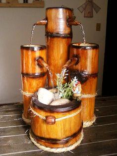 Fonte de água em bambu ZEN com quatro quedas - da BamBooZeira - Design http://bamboozeira.blogspot.com