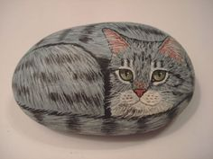 Gray Tabby Cat Hand Painted on A Stone Pet Rock