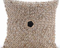 "Designer Ecru Linen Cushion Covers, 16""x16"" Cotton Linen Pillowcase, Square  Allover Kodi Shells Pillows Cover - Kodi Shells"