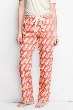 Women's Pattern Poplin Piped Sleep Pants from Lands' End - Wood Lily Pineapple