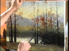 Jerry Yarnell teaches the comma stroke for leafing autumn trees (oil)