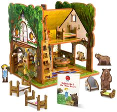Amazon.com: Goldilocks and the Three Bears Toy House and Storybook Playset: Toys & Games