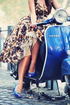 #Vespa. Travel in Italian Style on Vespa.--love the tardis blue vespa but especially the flower dress