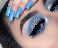 Blue Eyeshadow Makeup, Eye Makeup Art, Smokey Eye Makeup, Eyeliner, Quincenera Makeup, Spring Eye Makeup, Sparkle Makeup, Blue Makeup Looks, Dope Makeup