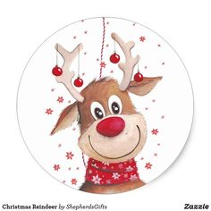 Shop Christmas Reindeer Classic Round Sticker created by ShepherdsGifts. Personalize it with photos & text or purchase as is! Merry Christmas Images, Christmas Rock, Christmas Pictures, Christmas Projects, Simple Christmas, Holiday Crafts, Christmas Drawing, Christmas Paintings, Reindeer Drawing