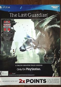 PS4 THE LAST GUARDIAN 'A TRUTH GREATER THAN LEGEND' GIANT PROMOTIONAL POSTERBOAR #PS4