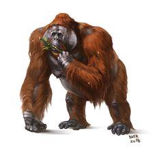 Gigantopithecus blacki by Kaek on DeviantArt Prehistoric World, Prehistoric Creatures, Borneo Orangutan, Science Fiction, Extinct Animals, Fauna, Creature Design, Fantasy Creatures, Animal Drawings