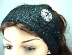Black Wool with Silver Thread Knitted Headband