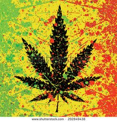 Abstract background with cannabis leaf and color spray paint. Vector illustration - stock vector