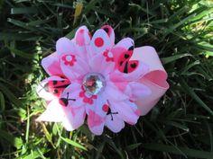 Petite Pink Ladybug Gerber Daisy Hair Bow by SimplyShabbiandChic, $3.00