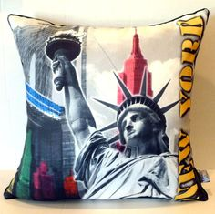 New York Statue of Liberty Pillow Thro By Marlo Lorenz #MarloLorenz
