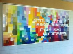 Incredible Bulletin Boards For Back To School Middle School Bulletin Board made of paint samples.Middle School Bulletin Board made of paint samples. Counseling Bulletin Boards, Bulletin Board Display, Classroom Bulletin Boards, Preschool Bulletin, Classroom Ideas, Counseling Office, School Display Boards, Highschool Classroom Decor, Art Classroom Door