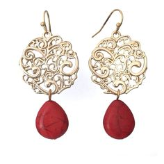 Red Stone Teardrop Gold Tone Filigree Disk Dangle Earrings -- Check this awesome product by going to the link at the image.