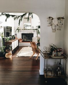 Festive home full of plant life.