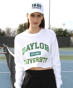 8eee9adba3 Baylor University Bears Comfort Colors Long Sleeve Cropped T-shirt - White  with Teal