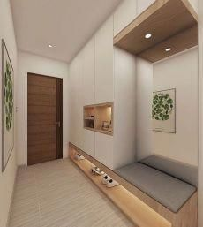 Modern foyer decorating with lights, - Small room design Foyer Design, Entry Way Design, House Design, Hall Design, Small Bedroom Designs, Small Room Design, Shoe Cabinet Design, Home Entrance Decor, Entryway Ideas