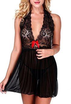 0b8bf79578 Ruzishun Deep Vneck halter transparent lace sexy lingerie Underwear  Sleepwear XXXL Black     See