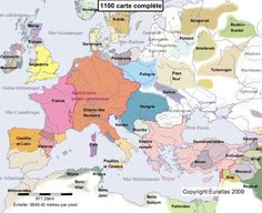 Historical map of Europe in the year 1100 AD