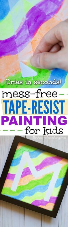 Kids will love creating their initial (or any design) with this easy tape-resist technique! A mess free painting activity for all ages & fun art gift idea! [ad]