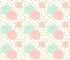 Polka dot peonies big fabric by >>mintpeony<< on Spoonflower - custom fabric