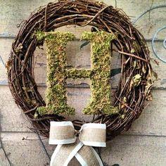 Custom Monogram Moss Letter Wreath. $45.00, via Etsy.