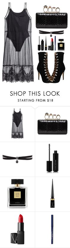 """All Black"" by claire394 ❤ liked on Polyvore featuring H&M, Alexander McQueen, Fallon, Marc Jacobs, Avon, Christian Louboutin and NARS Cosmetics"