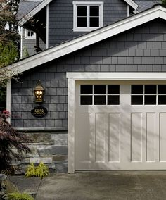 building a garage.maybe building a garage.maybe White Garage Doors, Garage Door Colors, Carriage Garage Doors, Modern Garage Doors, Garage Door Styles, Garage Door Design, Exterior House Colors, Craftsman Garage Door, Painted Garage Doors