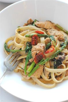 Chicken and Vegetable Fettuccine in a Light Cream Sauce / Bev Cooks