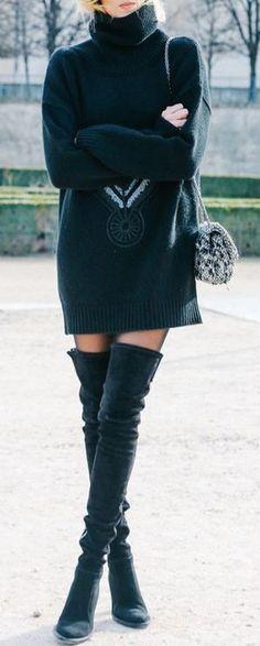 #winter #fashion / black knit dress