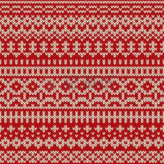 Christmas knitted seamless pattern in traditional Fair Isle style. Vector illustration - buy this stock vector on Shutterstock & find other images. Fair Isle Knitting Patterns, Knitting Charts, Knitting Stitches, Knit Patterns, Stitch Patterns, Tejido Fair Isle, Fair Isle Chart, Fair Isles, Tapestry Crochet