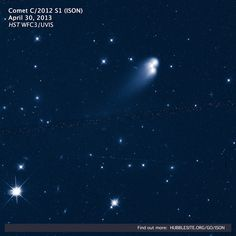 On April 30, NASA's Hubble Space Telescope observed Comet ISON. Compared to the stars and galaxies twinkling behind it, ISON is just astone's throwfrom Earth. Here, though, we see the comet splashed out over deep space, in a collage with colorful, distant neighbors.