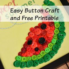 "If you're looking for a fun and easy summer craft for you or your kids, then you should try this easy DIY ""Sweet Summer"" watermelon button craft!"
