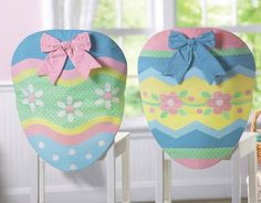 """Pastel Floral Striped Easter Egg Dining Chair Covers Transform your home for your Easter entertaining with this 2-pc. set of decorated egg chair-back covers. Slips easily over the backs of your dining room side chairs and fills your home with springtime joy and festive cheer. Spot clean. Crafted of polyester; imported. Each measures 24""""L x 20""""W. 14.99 9.97 collectionsetc.com"""