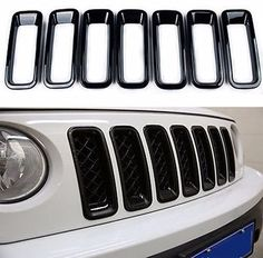 Front Grille Grill Inserts Trims Cover for Jeep Patriot (Black) Front Grille Inserts Trims for Jeep Patriot Easy installation: tape on back without drilling or tools required. White Jeep Patriot, Jeep Patriot Sport, Jeep Xj, Jeep Truck, Jeep Wrangler, Jeep Patriot Accessories, Jeep Accessories, Mom Mobile, Pickup Trucks