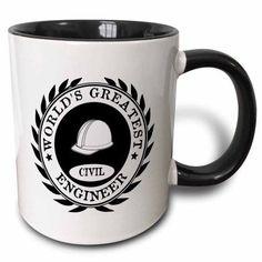 3dRose Worlds Greatest Civil Engineer award. Fun job pride work gifts - black, Two Tone Black Mug, 11oz