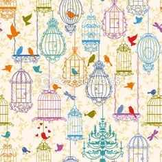 Birds and cages vintage pattern — Imagen vectorial #7145460