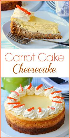 Carrot Cake Cheesecake - a genius combo of two classics! - Carrot Cake Cheesecake is a brilliant combination of a luscious, creamy cheesecake layer baked right on top of moist delicious carrot cake. Absolute g. Carrot Cake Cheesecake, Chocolate Cheesecake, Cheesecake Recipes, Dessert Recipes, Cheesecake Bites, Chocolate Caramels, Chocolate Recipes, Mini Desserts, Just Desserts