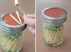 Mason Jar Match Holder