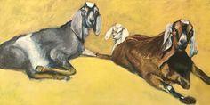 "Jonathan Mann, Waterford-Sharp Farms Goats, 2017-10-3, Acrylic, 12"" x 24"""