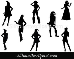 Girls Dressed as Santa Silhouette Vector Download