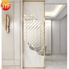 Source Y037 Living Room Decorative 304 Gold Room Divider Stainless Steel Partition Screen on m.alibaba.com Glass Partition Designs, Partition Screen, Living Room Partition Design, Glass Design, Wall Decor Design, Ceiling Design, Mirror Room Divider, Wooden Partitions, Home Entrance Decor