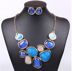 rhinestone paint resin necklace and earrings