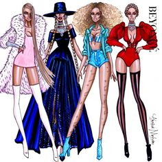 """armandmehidri: """"Beyonce - Formation Collection - by Armand Mehidri Who was your favorite look ? Fashion Design Drawings, Fashion Sketches, Beyonce, Diy Fashion, Autumn Fashion, Fashion Illustration Dresses, Fashion Illustrations, Model Sketch, Fantasias Halloween"""