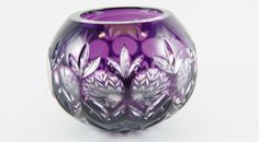 Bohemian crystal cut to clear amethyst Rose Bowl/ votive candle holder coin dot motif