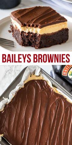 These fudgy, boozy Baileys brownies are the perfect grown-up dessert. With a layer of Irish cream frosting and Irish cream ganache on top! from Just So Tasty # irish desserts Baileys Brownies 13 Desserts, Irish Desserts, Alcoholic Desserts, Brownie Desserts, Holiday Desserts, Brownie Recipes, Delicious Desserts, Holiday Cookies, Tasty Dessert Recipes