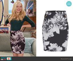Liv's black and white floral skirt on Liv and Maddie.  Outfit Details: https://wornontv.net/59920/ #LivandMaddie