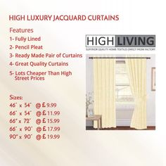 Luxury Jacquard Curtains Fully Lined Ready Made Tape Top Pencil Pleat Curtains - High Living Pleated Curtains, Hanging Curtains, How To Make Curtains, Pencil Pleat, Home Textile, Tape, Luxury, Ruffle Curtains, How To Sew Curtains